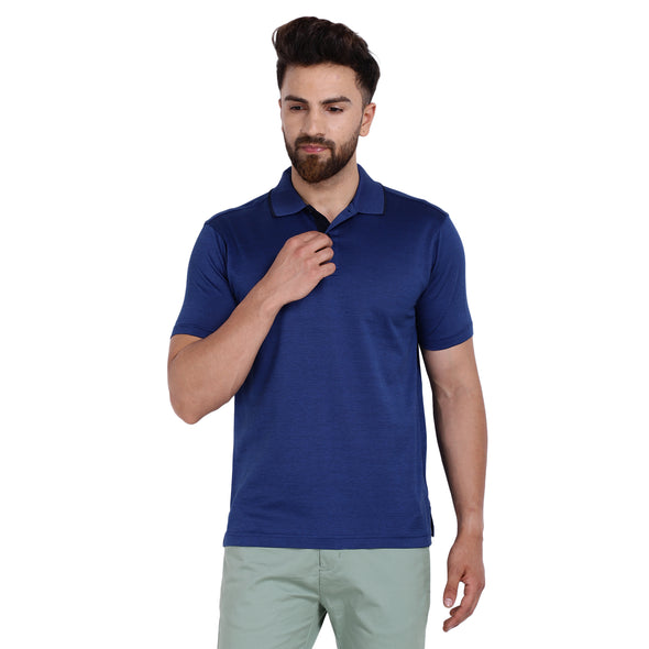 Men's Double Mercerised Egyptian Cotton Half Sleeves Bitone Polo Shirt