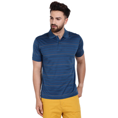 Men's Double Mercercerised Egyptian Cotton Half Sleeves Even Stripe Polo Shirt