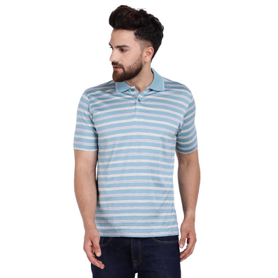 Men's Double Mercercerised Egyptian Cotton Half Sleeves Multi Coloured Pin Stripe Polo Shirt