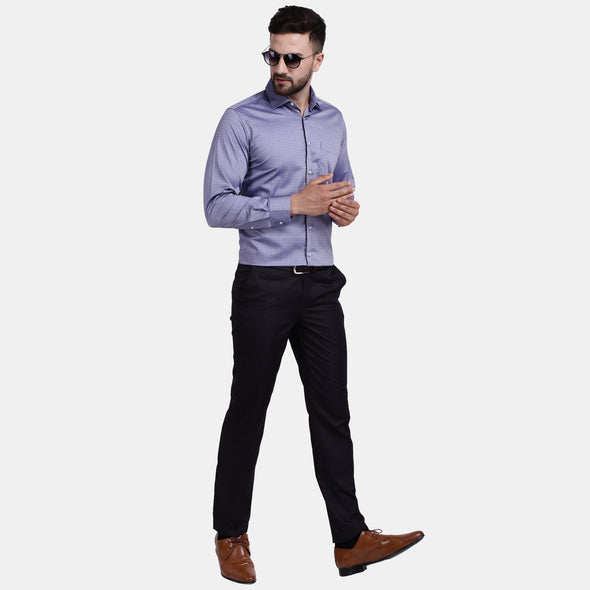 Men's PIMA Mercerised Broken Herringbone Jacquard Design Regular Fit Dress Shirt