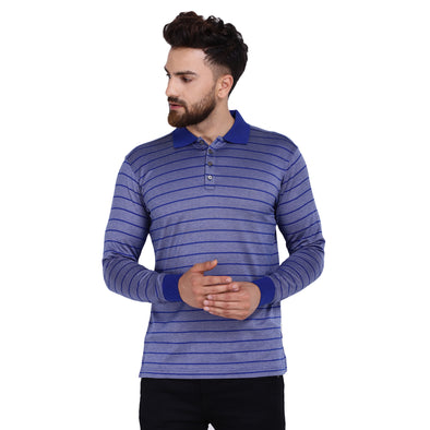 Men's Double Mercercerised Egyptian Cotton Full Sleeves Bitone Pin Stripe Polo Shirt