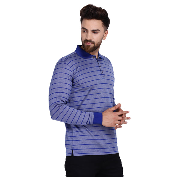 Men's Double Mercerised Egyptian Cotton Full Sleeves Bitone Pin Stripe Polo Shirt