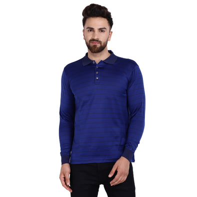 Men's Double Mercercerised Egyptian Cotton Full Sleeves Bitone Stripe Polo Shirt