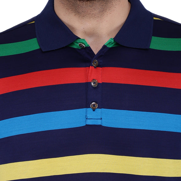 Men's Double Mercerised Egyptian Cotton Full Sleeves Colour Block Polo Shirt