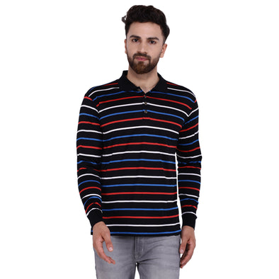 Men's Double Mercercerised Egyptian Cotton Full Sleeves Coloured Stripe Polo Shirt
