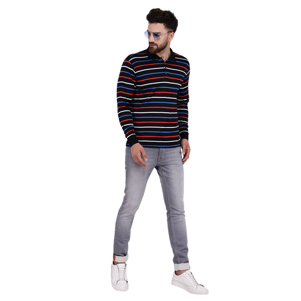 Men's Double Mercerised Egyptian Cotton Full Sleeves Coloured Stripe Polo Shirt