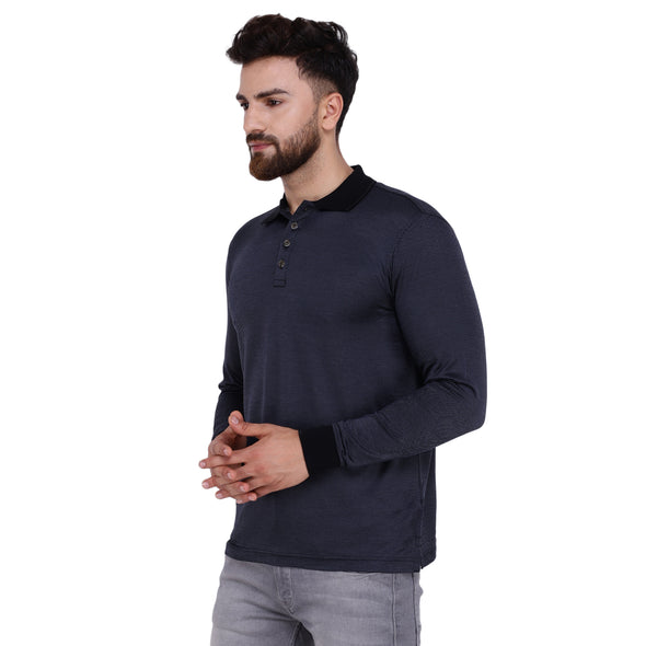 Men's Double Mercerised Egyptian Cotton Full Sleeves Diagonal Pin Striped Jacquard Polo Shirt