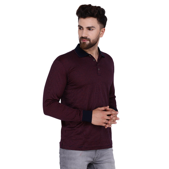 Men's Double Mercerised Egyptian Cotton Full Sleeves Pin Stripe Polo Shirt