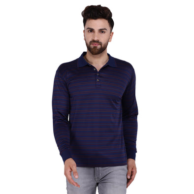 Men's Double Mercercerised Egyptian Cotton Full Sleeves Subtle Striped Polo Shirt
