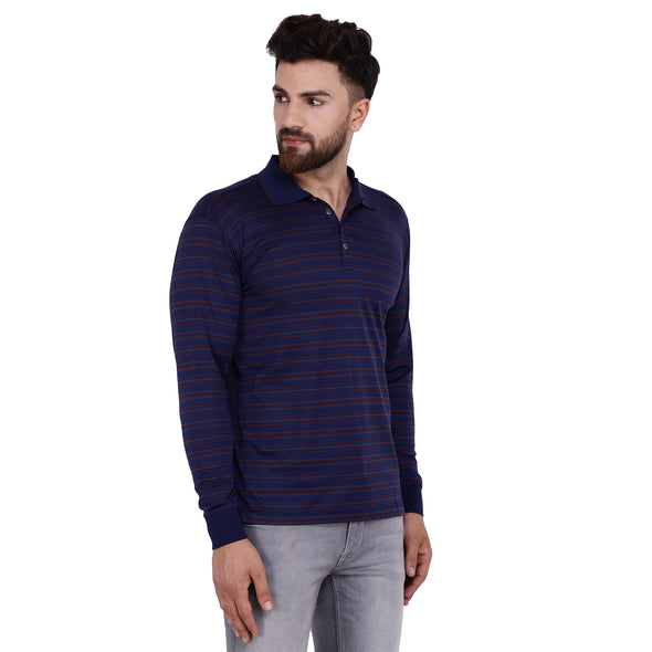 Men's Double Mercerised Egyptian Cotton Full Sleeves Subtle Striped Polo Shirt