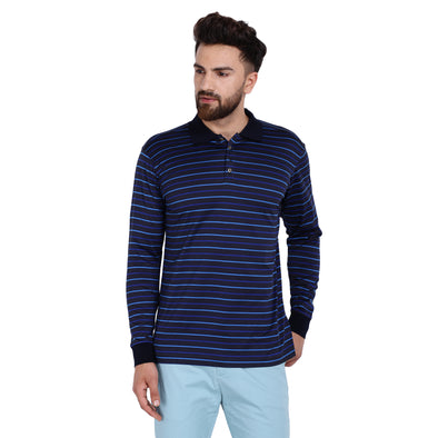 Men's Double Mercercerised Egyptian Cotton Full Sleeves Uneven Stripes Polo Shirt