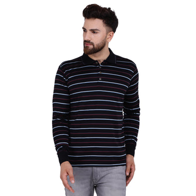 Men's Double Mercercerised Egyptian Cotton Full Sleeves Striped Polo Shirt