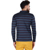 Men's Double Mercerised Egyptian Cotton Full Sleeves Striped Polo Shirt