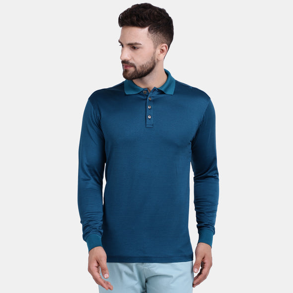 Men's Double Mercerised Egyptian Cotton Full Sleeves Diamond Jacquard Polo Shirt