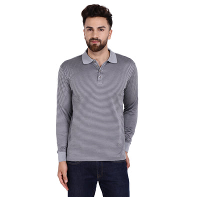 Men's Double Mercercerised Egyptian Cotton Full Sleeves Tiny Shaded Check Jacquard Polo Shirt