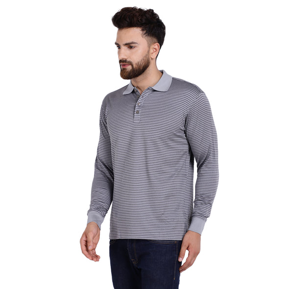 Men's Double Mercerised Egyptian Cotton Full Sleeves Tiny Shaded Check Jacquard Polo Shirt