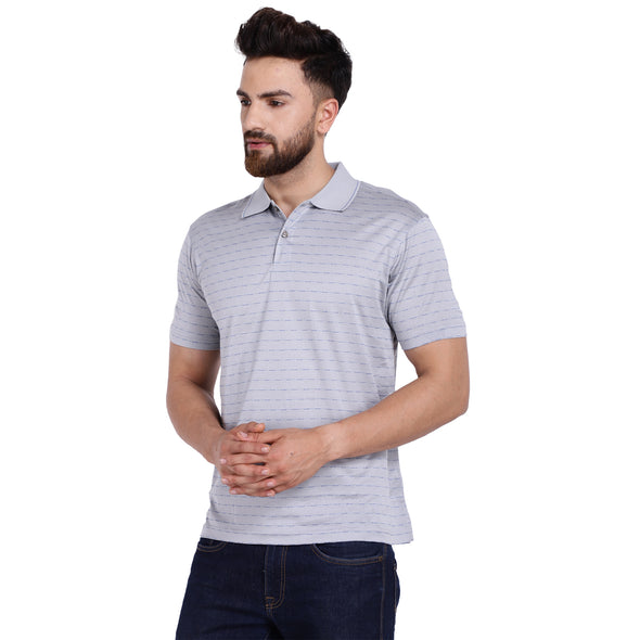 Men's Double Mercerised Egyptian Cotton Half Sleeves Tucked Stripe Polo Shirt