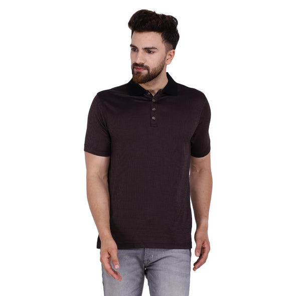 Men's Double Mercerised Egyptian Cotton Half Sleeves Tiny Check Bitone Polo Shirt