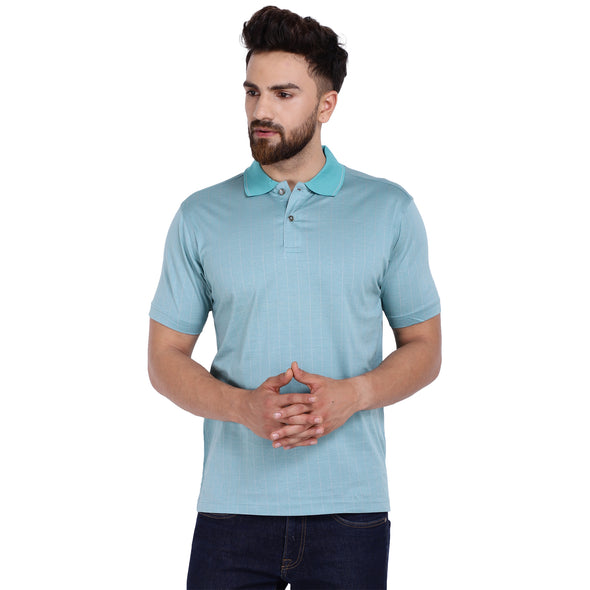 Men's Double Mercerised Egyptian Cotton Half Sleeves Verticle Pin Striped Jacquard Polo Shirt