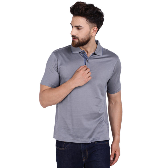 Men's Double Mercerised PIMA Cotton Half Sleeves Herringbone Polo Shirt