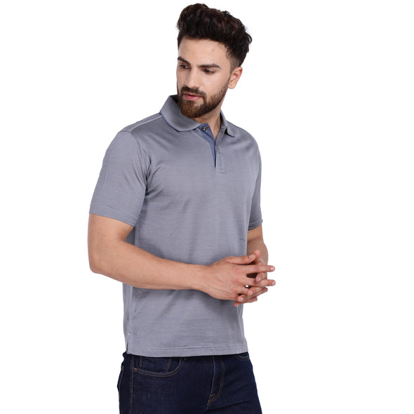 Men's Double Mercercerised PIMA Cotton Half Sleeves Herringbone Polo Shirt
