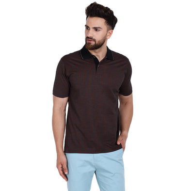 Men's Double Mercercerised PIMA Cotton Half Sleeves Jacquard Base Polo Shirt