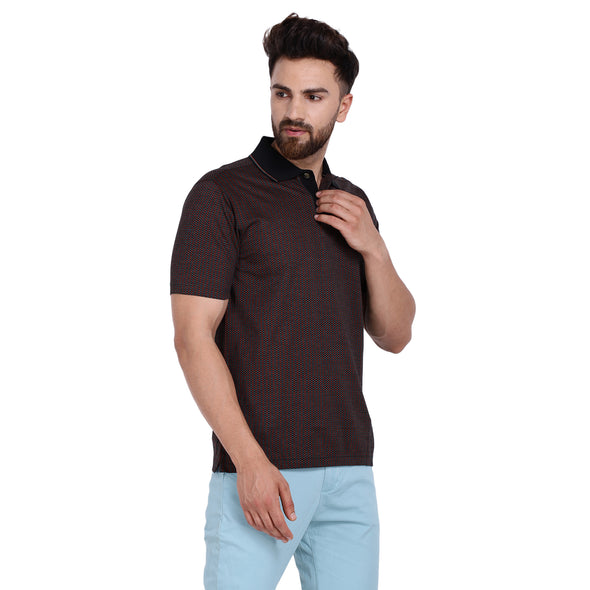 Men's Double Mercerised PIMA Cotton Half Sleeves Jacquard Base Polo Shirt