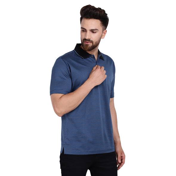 Men's Double Mercerised PIMA Cotton Half Sleeves Jacquard Polo Shirt