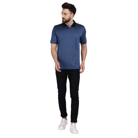 Men's Double Mercercerised PIMA Cotton Half Sleeves Jacquard Polo Shirt