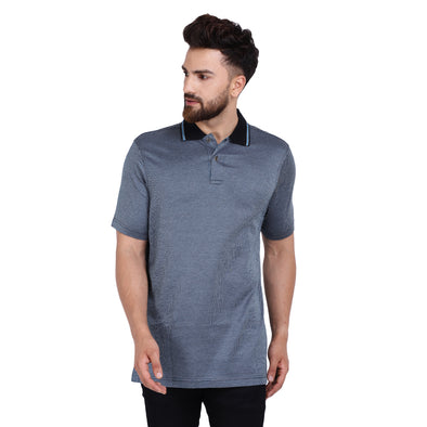 Men's Double Mercercerised PIMA Cotton Half Sleeves Subtle Check Polo Shirt