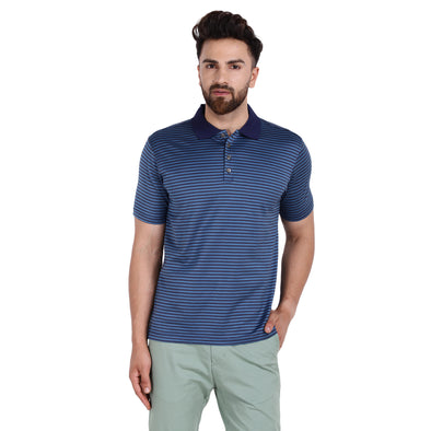 Men's Double Mercercerised Egyptian Cotton Half Sleeves Bitone Medium Stripe Polo Shirt