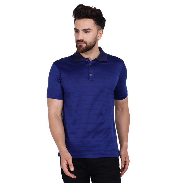 Men's Double Mercerised Egyptian Cotton Half Sleeves Bitone Stripe Polo Shirt
