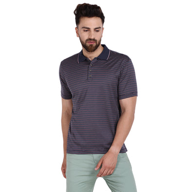 Men's Double Mercercerised Egyptian Cotton Half Sleeves Multi Pin Stripe Polo Shirt
