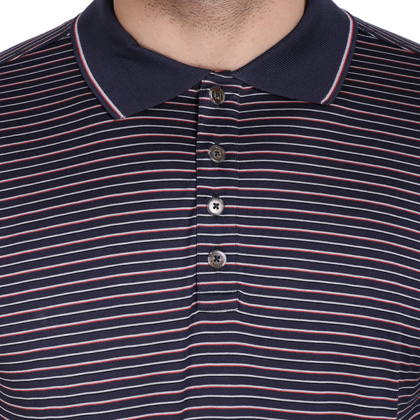 Men's Double Mercerised Egyptian Cotton Half Sleeves Multi Pin Stripe Polo Shirt