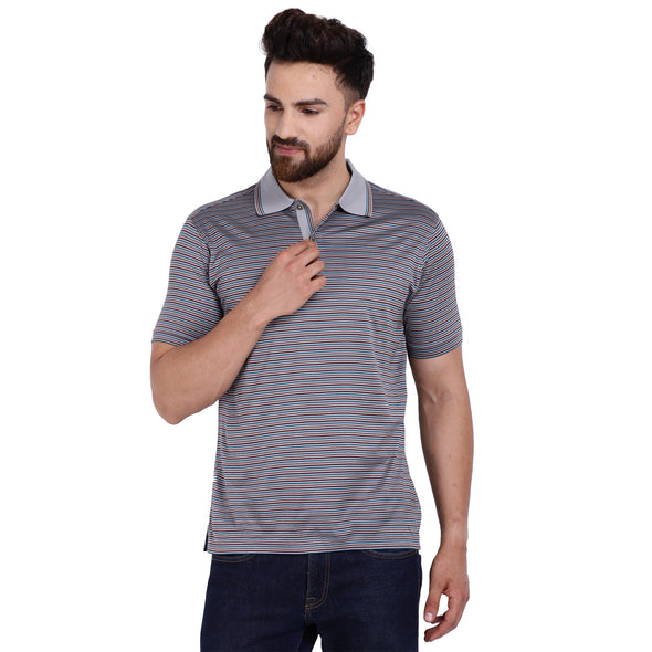 Men's Double Mercerised Egyptian Cotton Half Sleeves Multi Stripe Polo Shirt