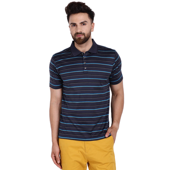 Men's Double Mercerised Egyptian Cotton Half Sleeves Striped Polo Shirt