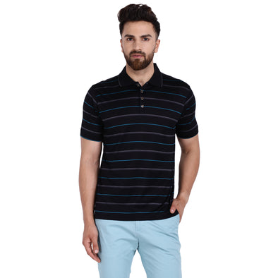 Men's Double Mercercerised Egyptian Cotton Half Sleeves Thin Stripe Polo Shirt