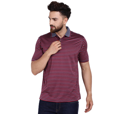 Men's Double Mercercerised Egyptian Cotton Half Sleeves Three Stripe Polo Shirt
