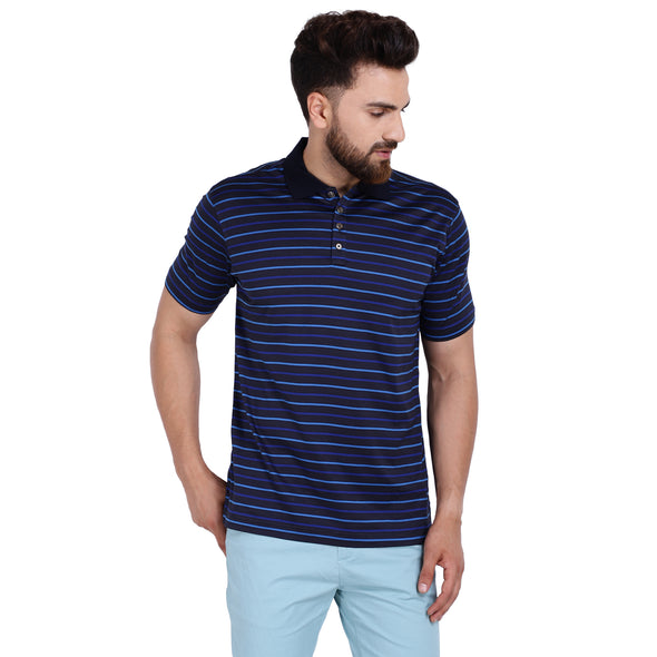 Men's Double Mercerised Egyptian Cotton Half Sleeves Uneven Stripes Polo Shirt