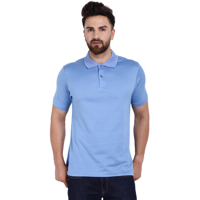 Men's Double Mercercerised PIMA Cotton Half Sleeves Jacquard Stripe Polo Shirt
