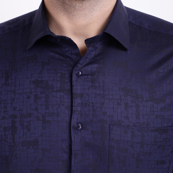 Men's PIMA Mercerised Subtle Textured Abstract Jacquard Design Shirt