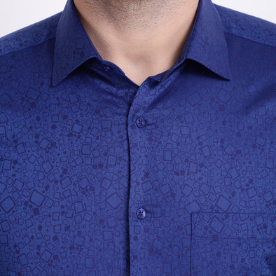 Men's PIMA Mercerised Subtle Squares Textured Jacquard Design Shirt