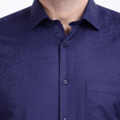 Men's PIMA Mercerised Floral Textured Jacquard Design Shirt