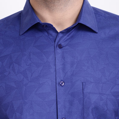 Men's PIMA Mercerised Abstract Textured Jacquard Design Shirt