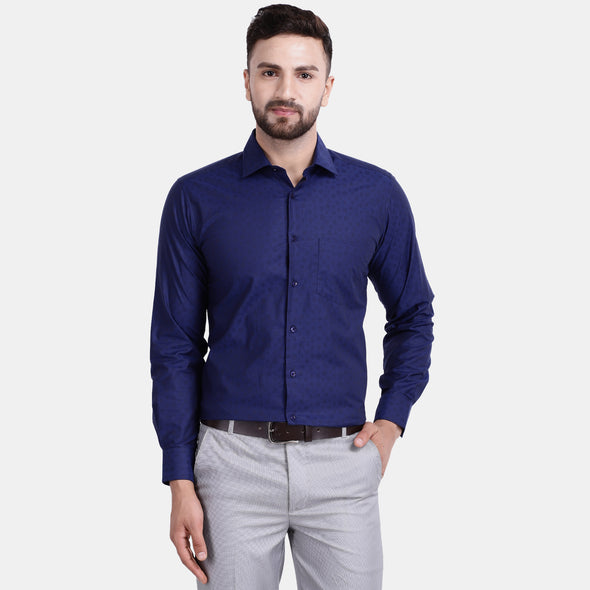 Men's PIMA Mercerised Subtle Circle Textured Jacquard Design Shirt