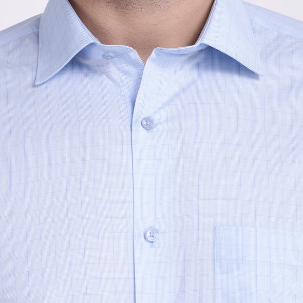 Men's PIMA Mercerised Pin Stripe Checks Jacquard Design Shirt
