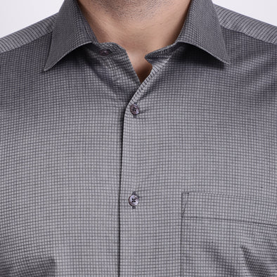 Men's PIMA Mercerised Twill Small Check Jacquard Design Dress Shirt