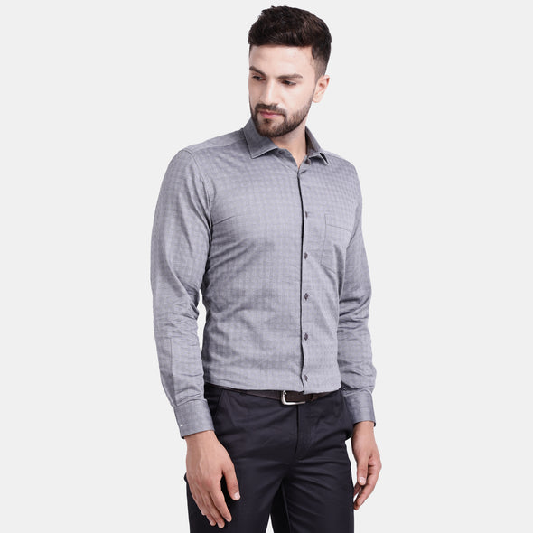 Men's PIMA Mercerised Textured Check Jacquard Design Dress Shirt