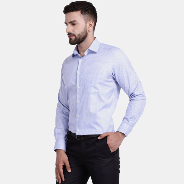 Men's PIMA Mercerised Medium Check Jacquard Design Dress Shirt