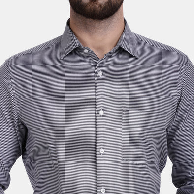 Men's PIMA Mercerised Houndstooth Design Dress Shirt